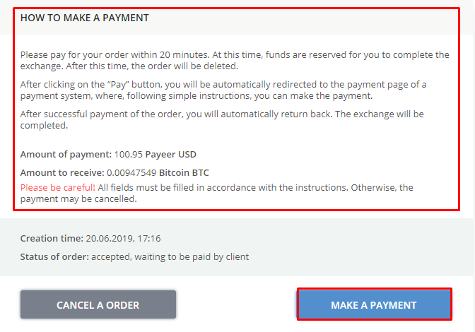 Payment order Payeer USD Bitcoin