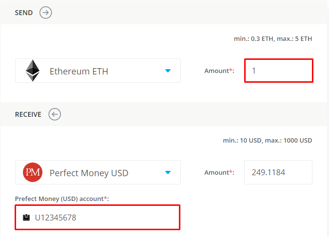 data on exchanging ethereum for perfect money