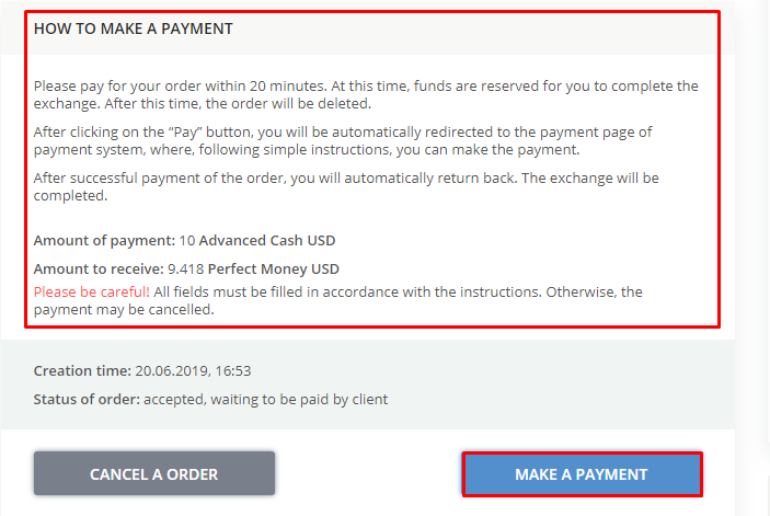 Payment order Advanced Cash Perfect Money
