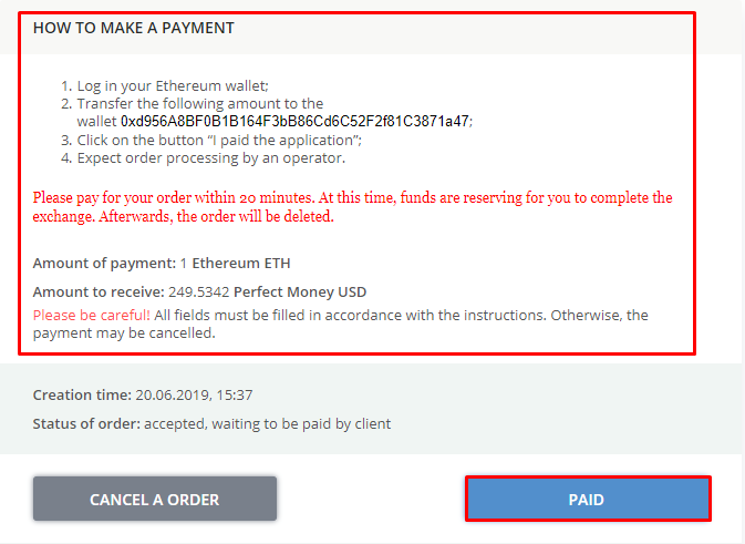 Payment order Ethereum Perfect Money