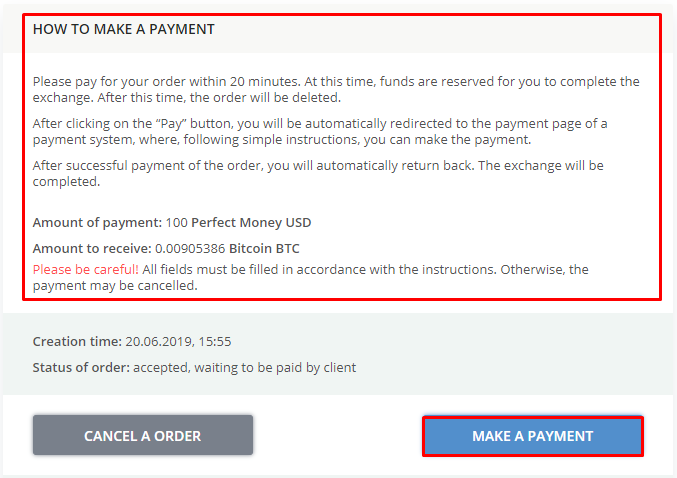 Payment order Perfect Money Bitcoin